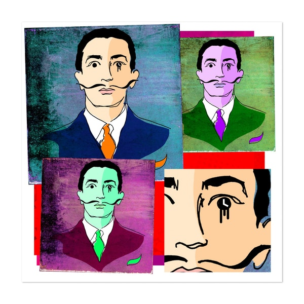SALVADOR DALI PORTRAIT, IN 4-UP POP ART STYLE COLOURS. by Clifford Hayes | Hayes Design