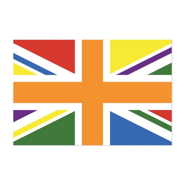 UK PRIDE FLAG - UNION JACK, ADJUSTED TO LGBT COLOURS by Clifford Hayes | Hayes Design