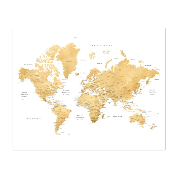 Gold World Map with Cities by blursbyai