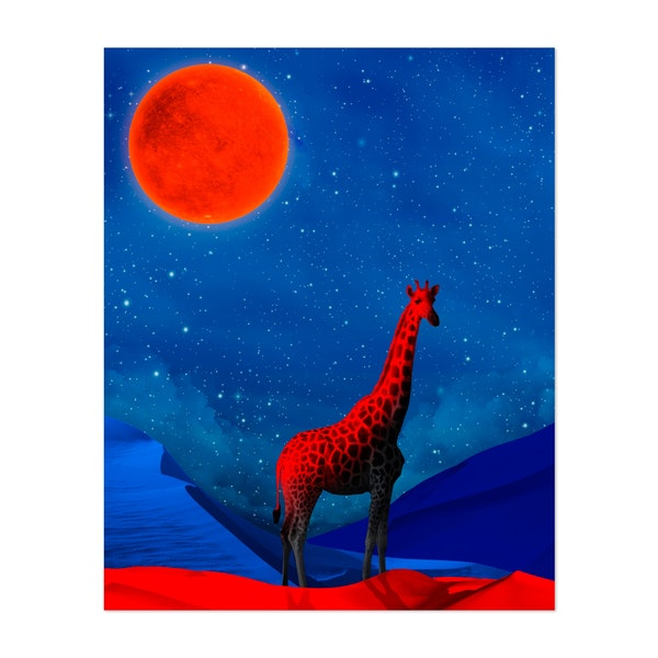 Giraffe in surreal and night landscape by Ivan Rodriguez Garcia