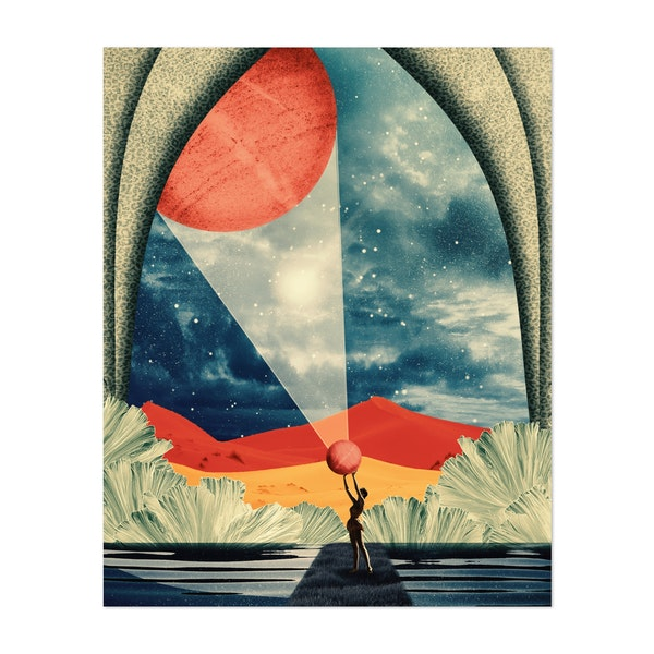 Surreal colorful illustration about the universe and planets by Ivan Rodriguez Garcia