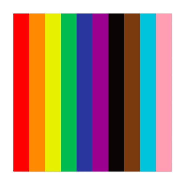 LBGTQ+ FLAG, ALT FORMAT. THE LGBT FLAG, PLUS INCORPORATION OF OTHER FLAGS FOR CULTURAL AND GENDER EQUALITY. by Clifford Hayes | Hayes Design