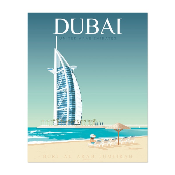 DUBAI Travel Poster by Francesco Di Beutierio ? by Francois Beutier / Olahoop Travel Posters