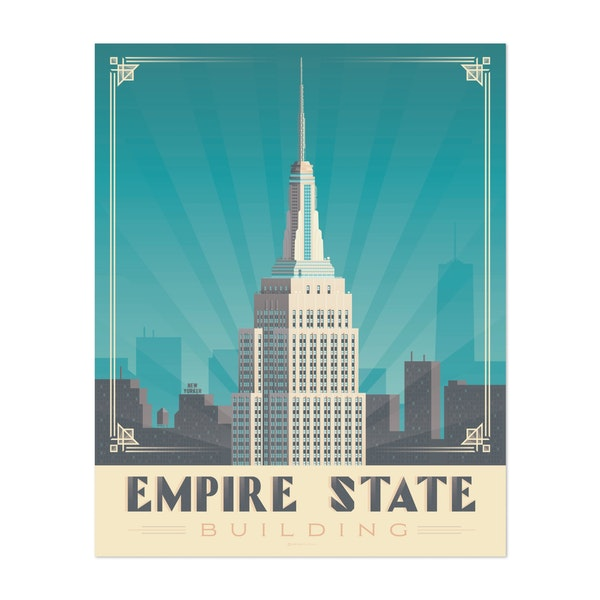 New York Empire State Building Travel Poster by Francois Beutier / Olahoop Travel Posters