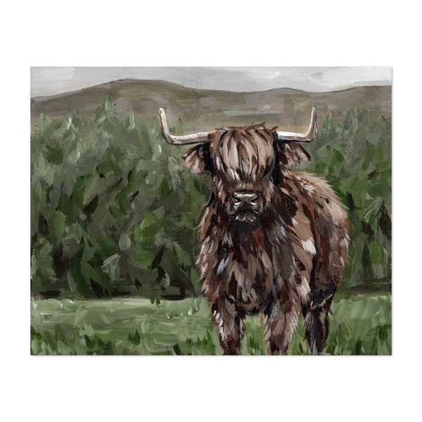 Highland Cow Landscape Painting by The Cranberry Finch
