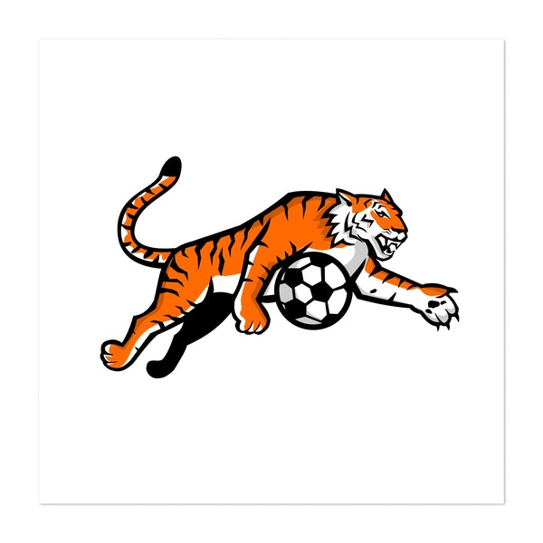 Tiger Jumping Soccer Ball Mascot by Patrimonio Designs Limited