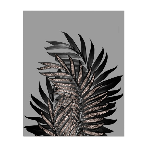 Gray Black Palm Leaves with Rose Gold Glitter #1 by Anita's & Bella's Art