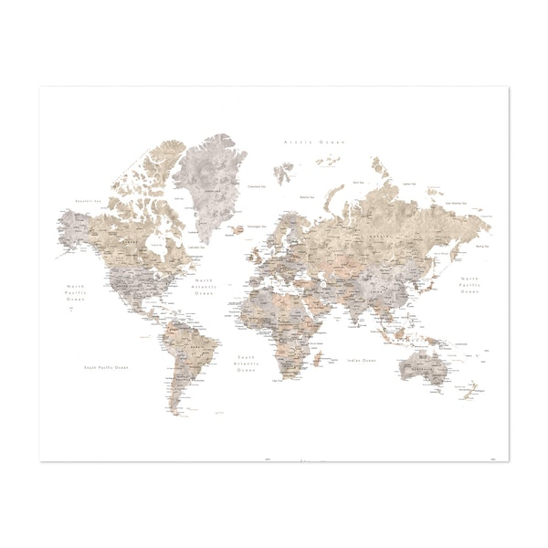 Neutral Watercolor World Map with Cities by blursbyai