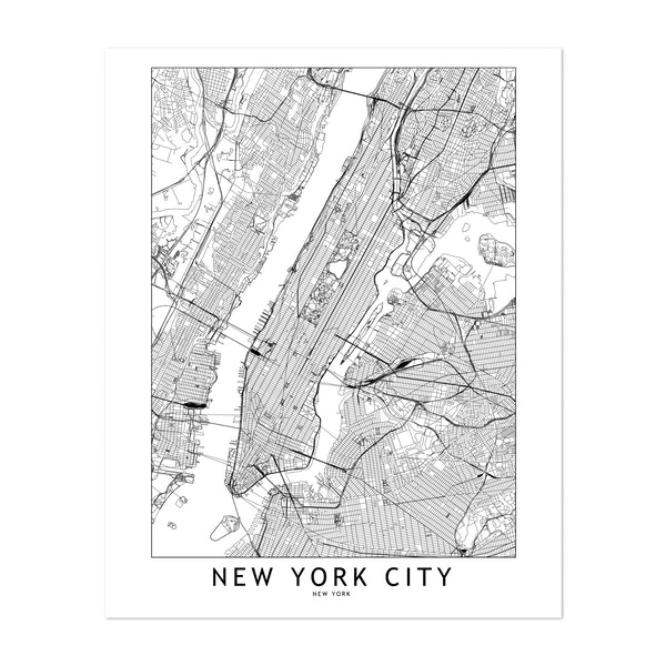 New York White Map by MultipliCITY
