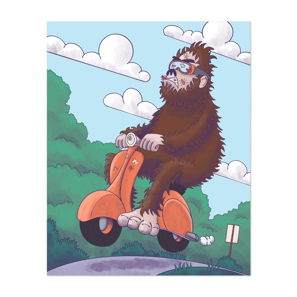 Bigfoot on a Scooter by John Morris