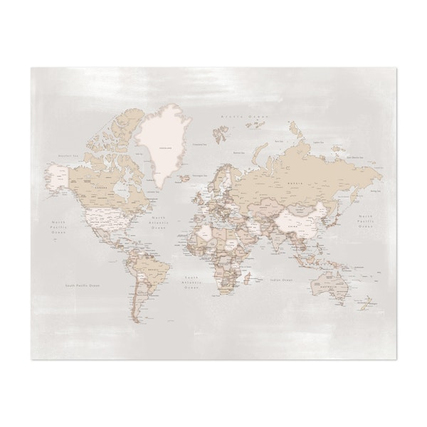 Rustic World Map with Cities by blursbyai