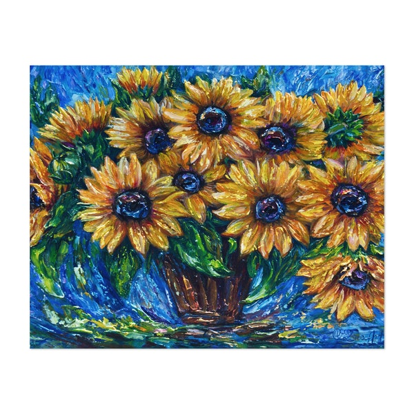 Sunflower Love With Palette Knife by OLena Art
