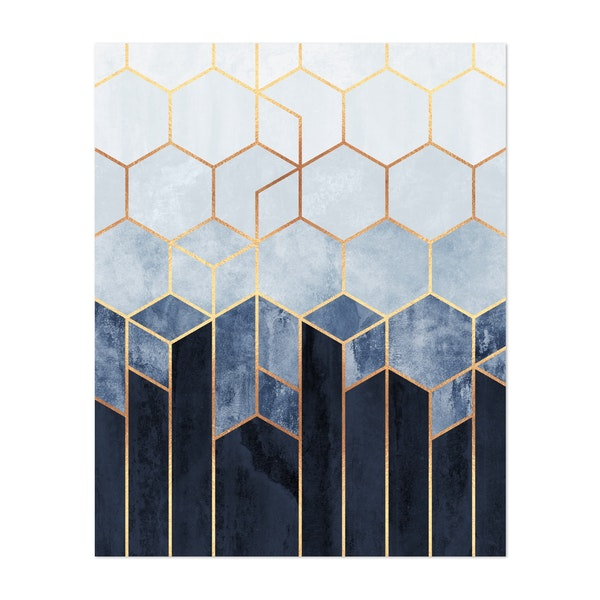 Soft Blue Hexagons by Elisabeth Fredriksson