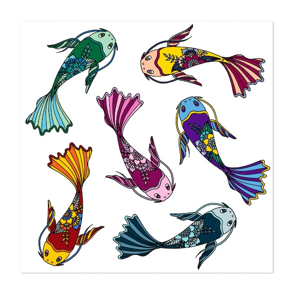 Colorful Koi Fish by HLeslie Design