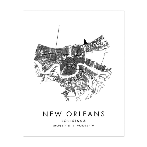 New Orleans Louisiana Minimal Modern Circle Street Map by Typologie Paper Co