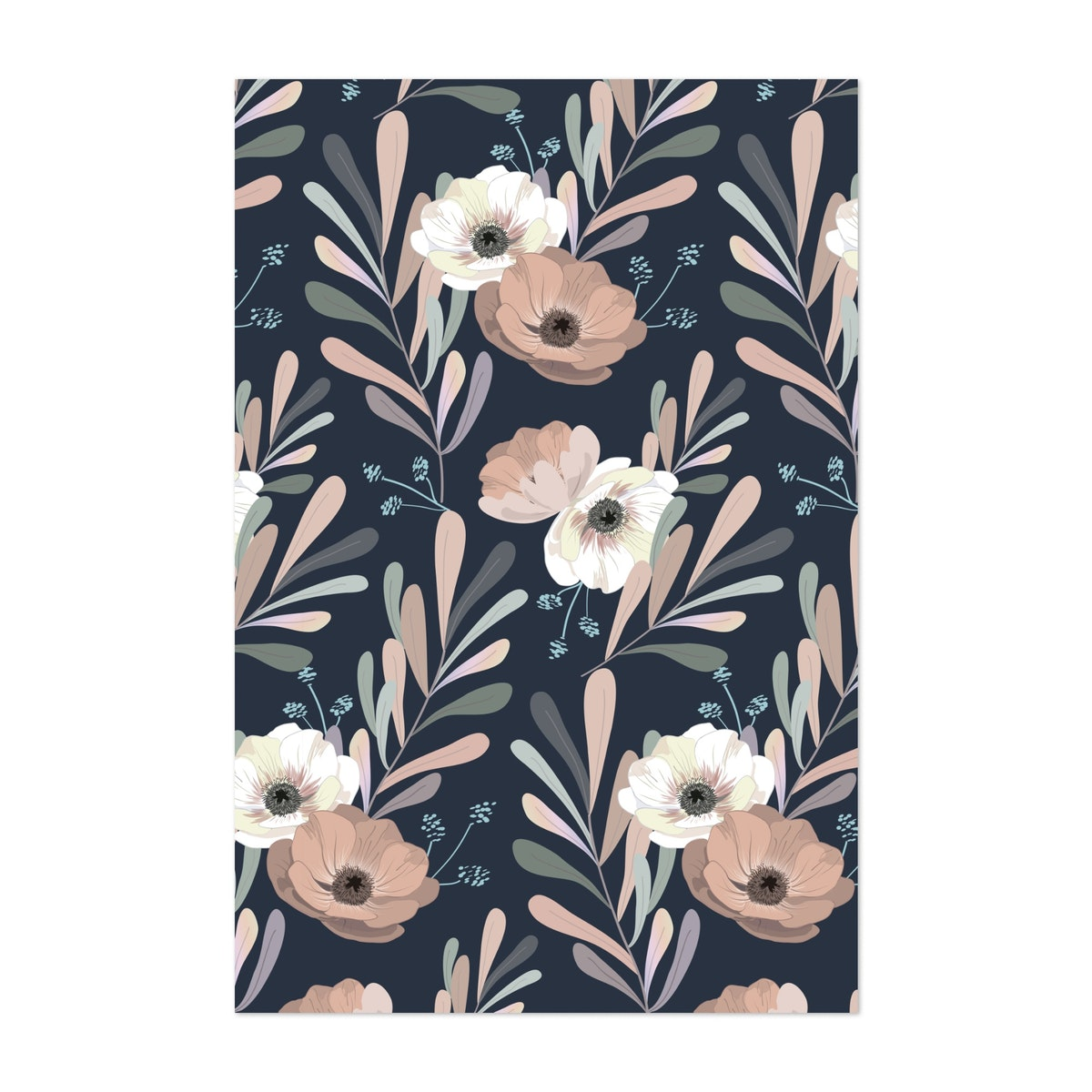 Anemones and Olives - blue