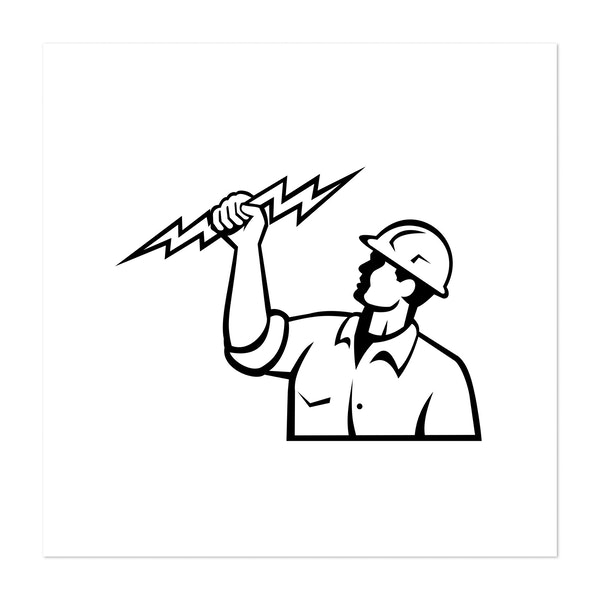 Electrician Power Lineman or Construction Worker Holding Lightning Bolt Retro by Patrimonio Designs Limited