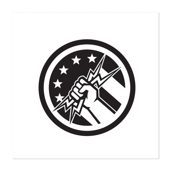 Electrician Hand Pipe Holding Lightning Bolt USA Flag Circle Icon Black and White by Patrimonio Designs Limited
