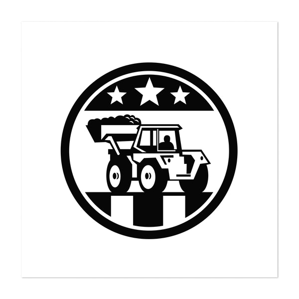 Mechanical Digger Excavator USA Flag Black and White by Patrimonio Designs Limited