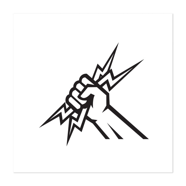 Electrician Hand Holding Lightning Bolt Side View Icon Black and White by Patrimonio Designs Limited