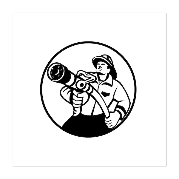 Fireman Firefighter Aiming Fire Hose Circle Black and White by Patrimonio Designs Limited