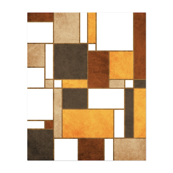 Mondrian Composition - White 01 - Modernist Geometric Abstract by Cosmic Soup