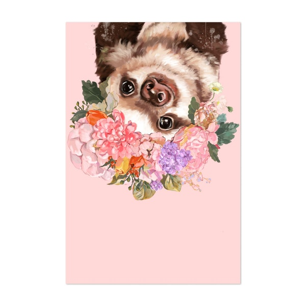 Baby Sloth with Flower Crown by Big Nose Work