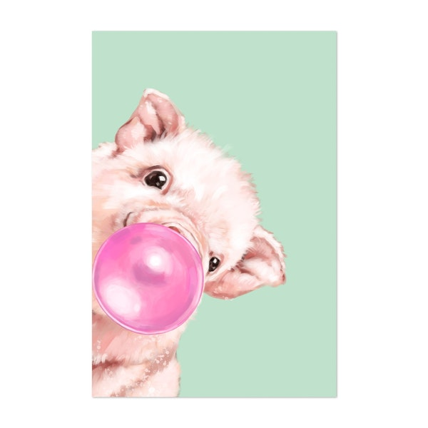 Bubble Gum Sneaky Baby Pig in Green by Big Nose Work