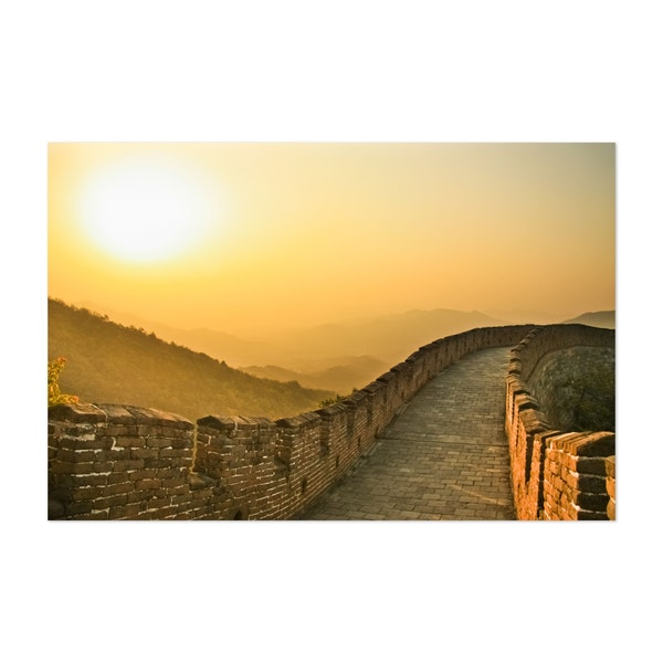 Sunset on the great wall of China, the air is saturated with smog by Mikhail Semenov
