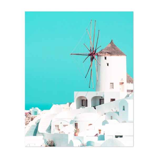 Windmill Santorini Oia by ArtPrInk