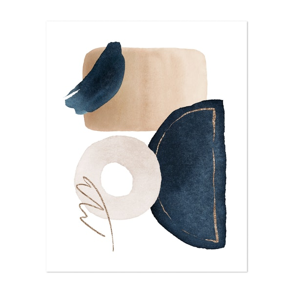 Watercolor Shapes in Navy 2 by Gal Design