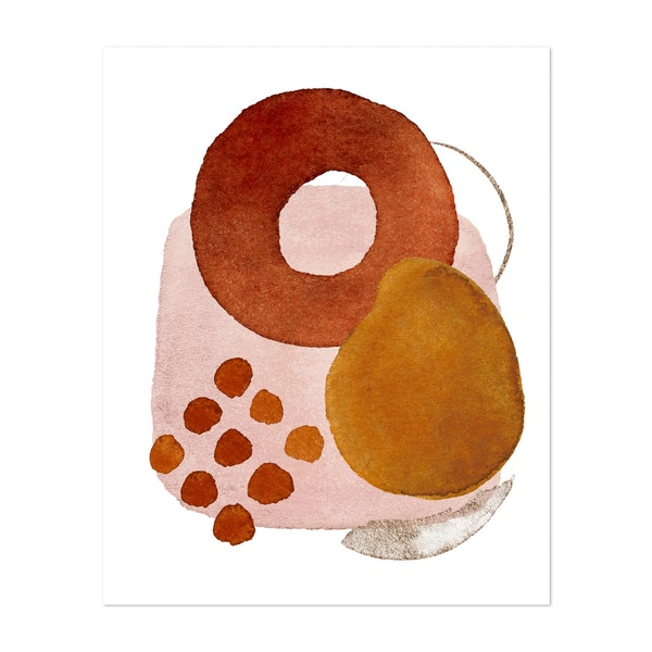 Watercolor Shapes in Red 5 by Gal Design