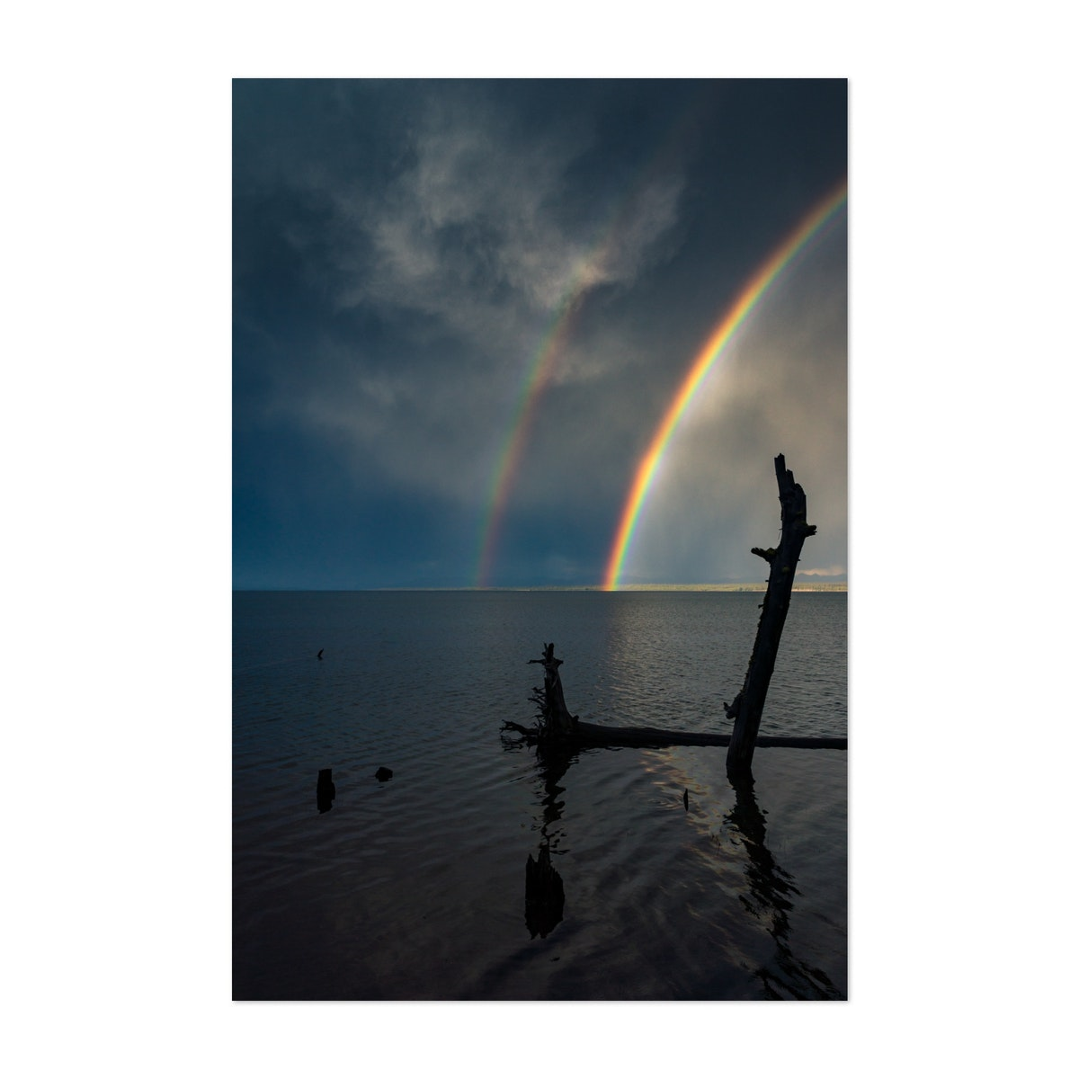 Dramatic Rainbow Over Yellowstone Lake