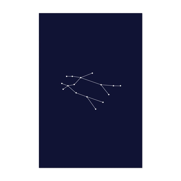 Gemini Zodiac Constellation Dark Blue by Beyond the Clouds