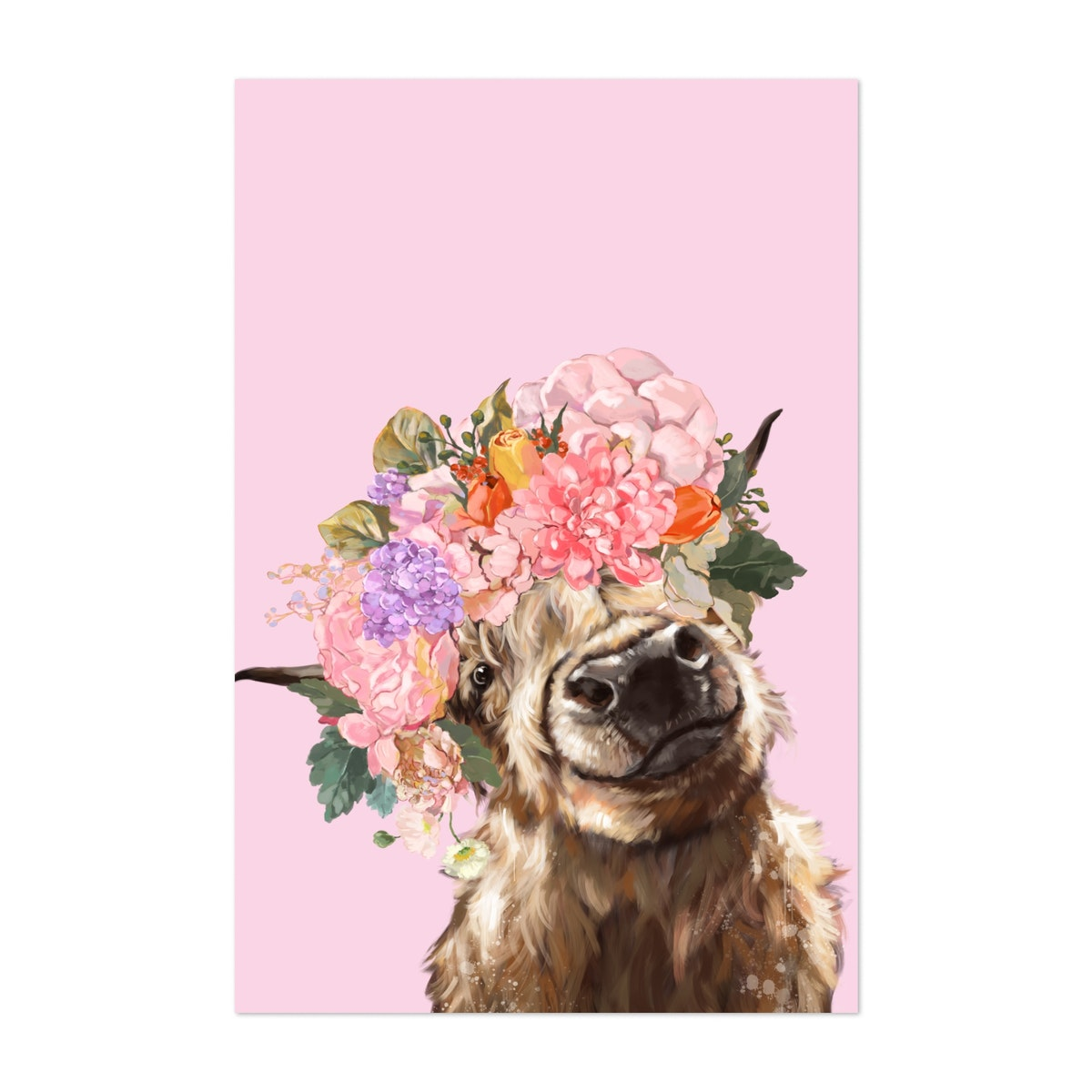 Highland Cow with Flower Crown