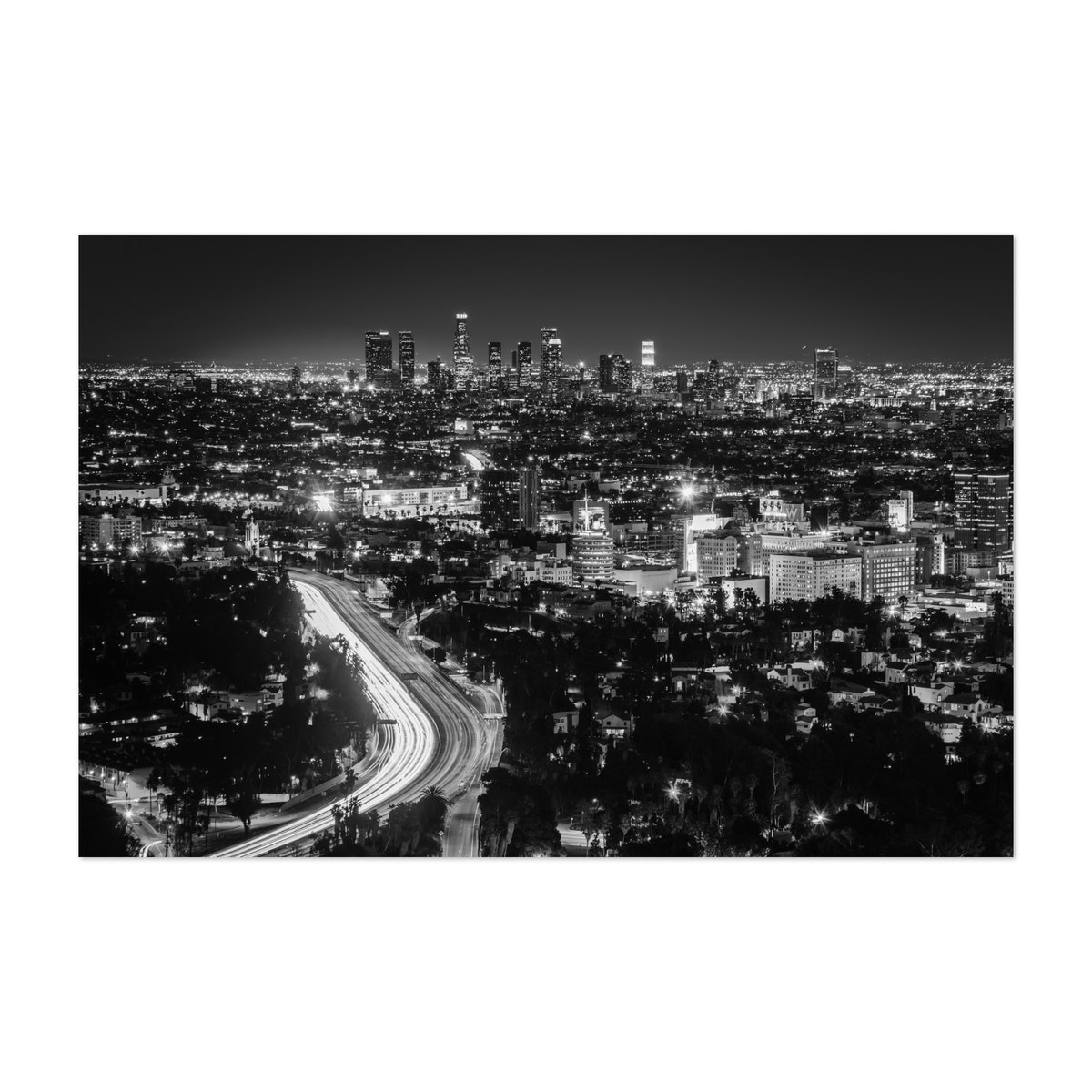 LA from Hollywood Bowl Overlook B&W