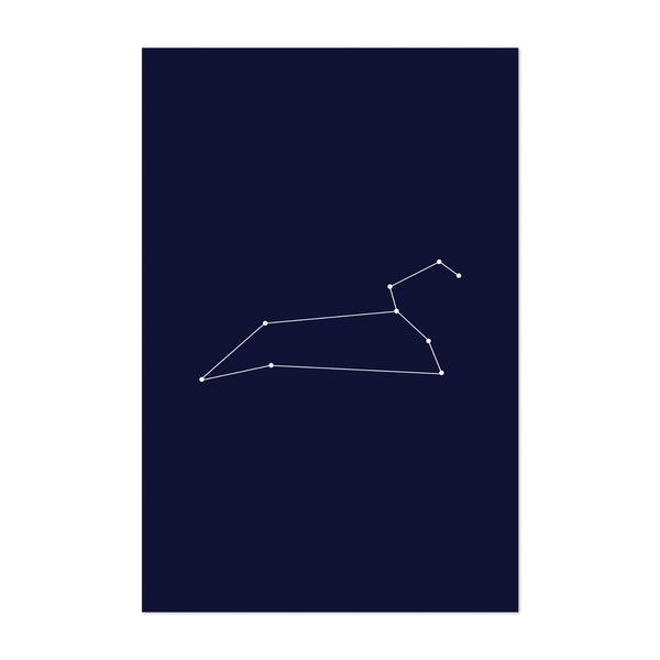 Leo Zodiac Constellation Dark Blue by Beyond the Clouds