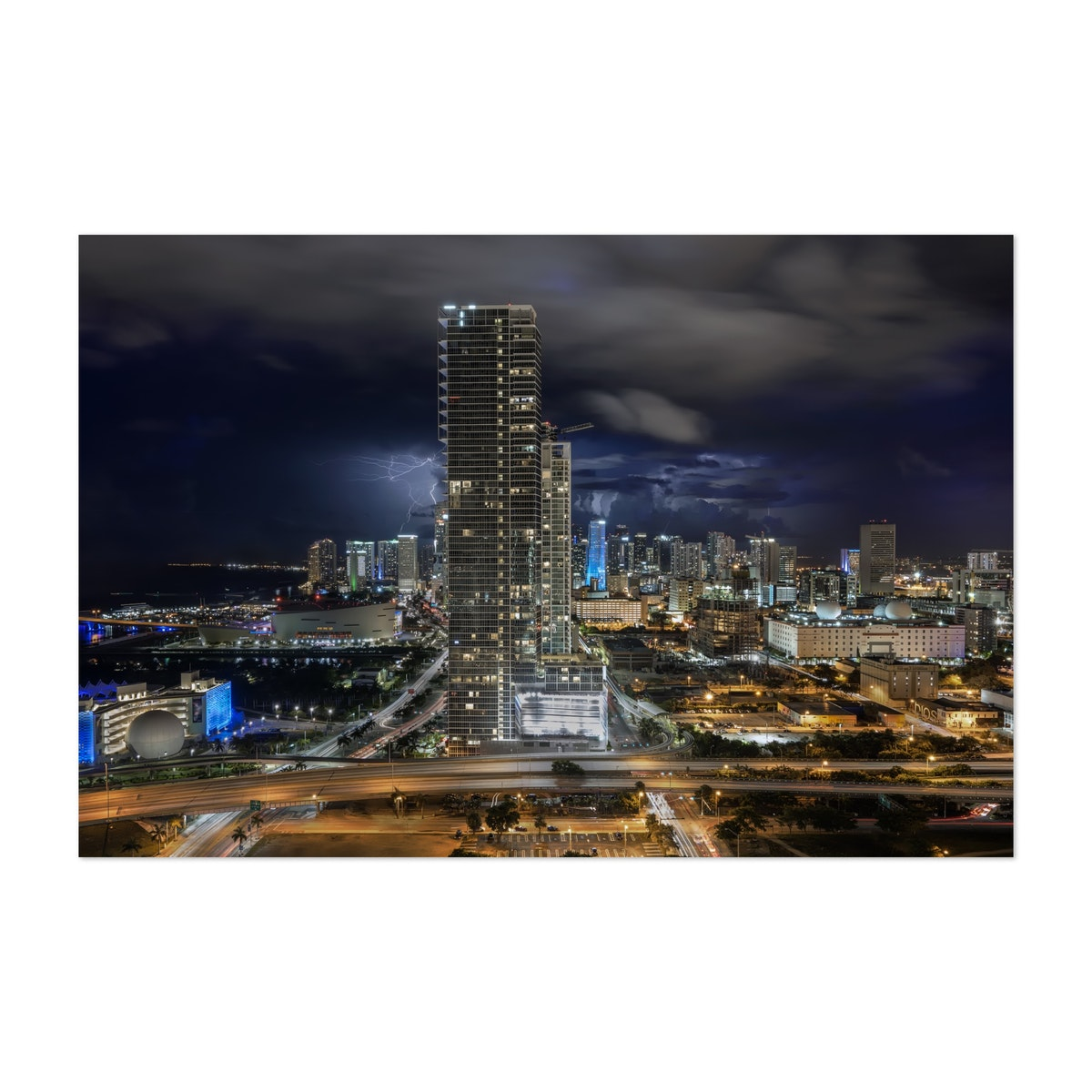 Lightning Over Downtown Miami