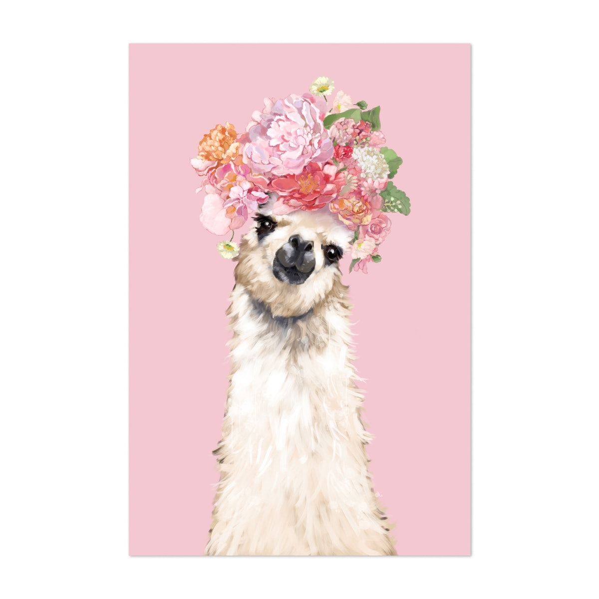 Llama with Flower Crown in Pink