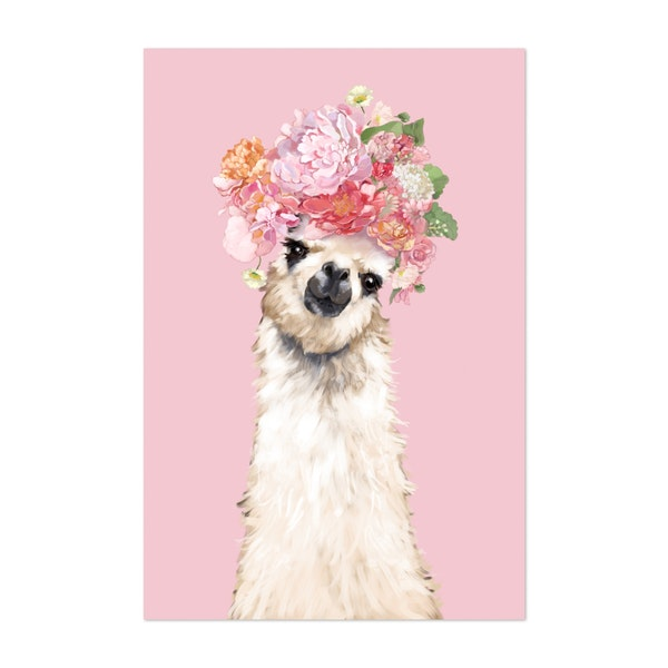Llama with Flower Crown in Pink by Big Nose Work