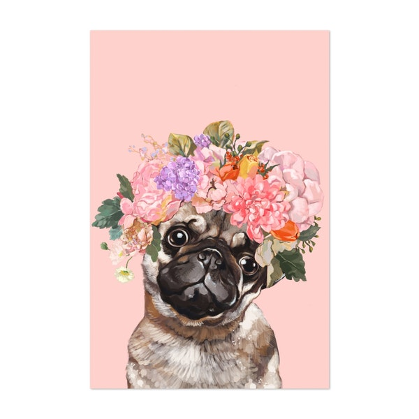 Pug with Flower Crown by Big Nose Work