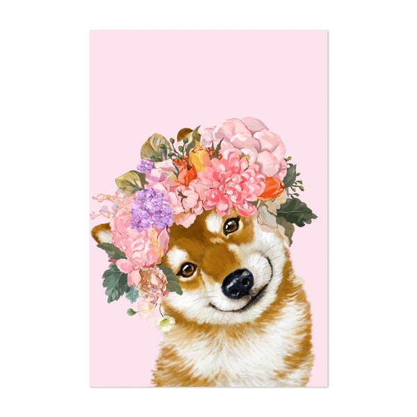 Shiba Inu with Flower Crown by Big Nose Work