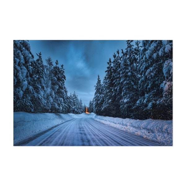 Winter Road in Blue Hour by Ulf Asplund