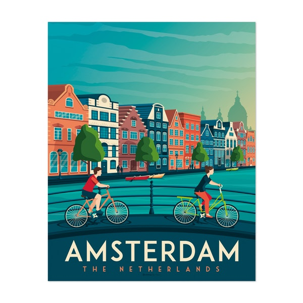 AMSTERDAM Travel Poster by Francois Beutier / Olahoop Travel Posters