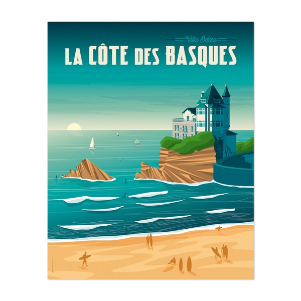 BIARRITZ Travel Poster by Francois Beutier / Olahoop Travel Posters