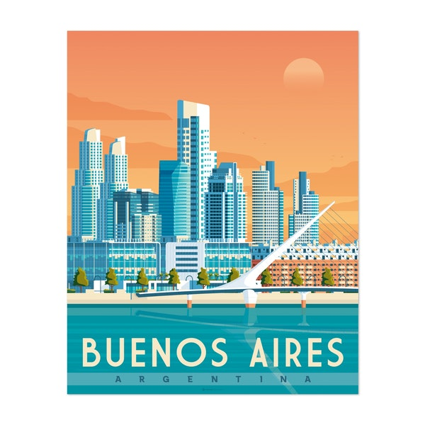 BUENOS AIRES Travel Poster by Francois Beutier / Olahoop Travel Posters