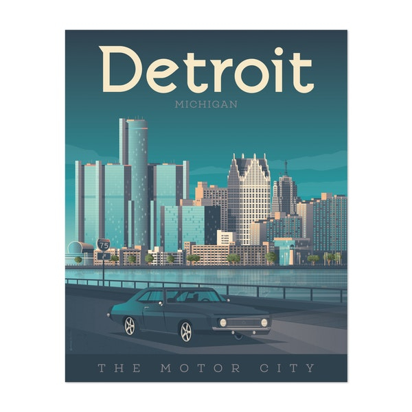 DETROIT Travel Poster by Francois Beutier / Olahoop Travel Posters