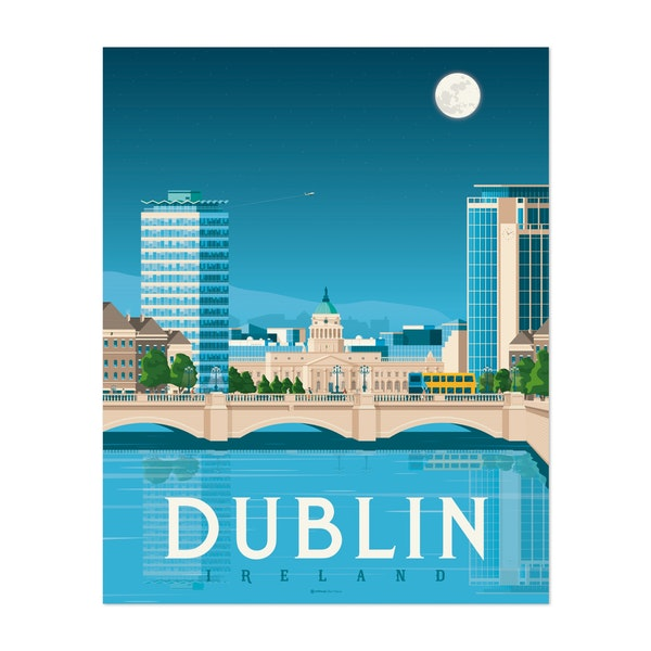 DUBLIN Travel Poster by Francois Beutier / Olahoop Travel Posters