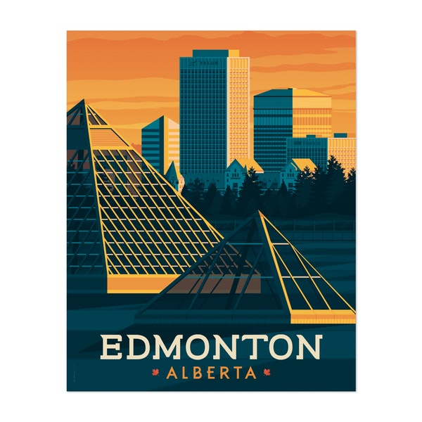 EDMONTON Travel Poster by Francois Beutier / Olahoop Travel Posters