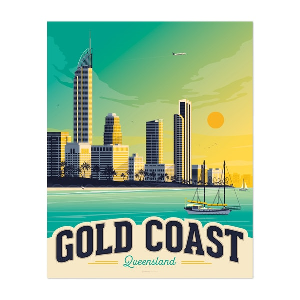 GOLD COAST Travel Poster by Francois Beutier / Olahoop Travel Posters